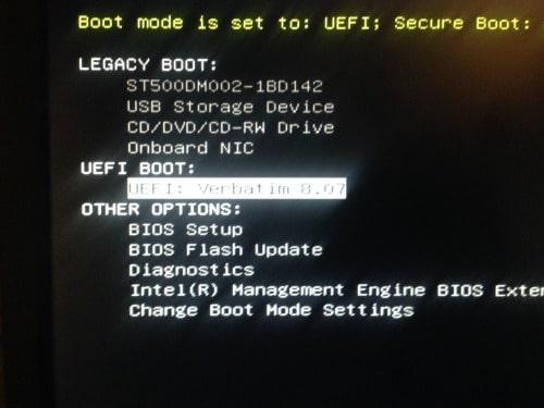 آموزش نصب ویندوز 10 - ظاهر شدن پنجره انتخاب فلش بوت UEFI