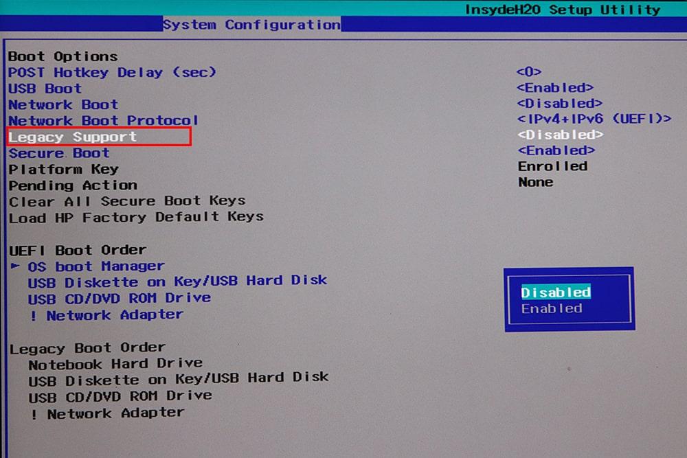 آموزش نصب ویندوز 10 - غیر فعال کردن Legacy Boot