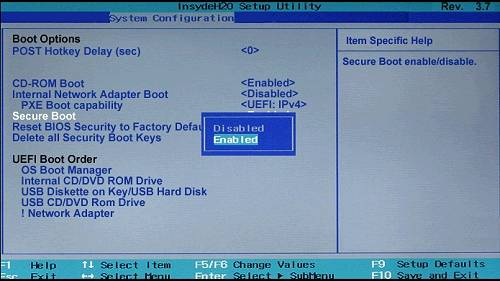 آموزش نصب ویندوز 10 - فعال کردن Secure Boot