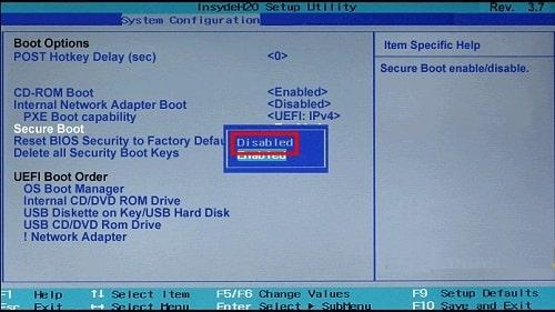 آموزش نصب ویندوز 10 - غیر فعال سازی Secure Boot