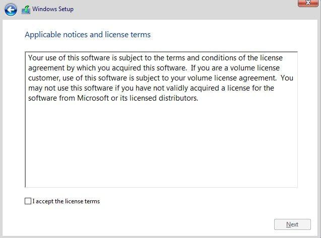 آموزش نصب ویندوز 10 - پنچره تایید قوانین حقوقی ویندوز