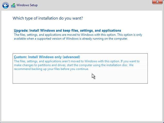 آموزش نصب ویندوز 10 - انتخاب نحوه نصب ویندوز 10